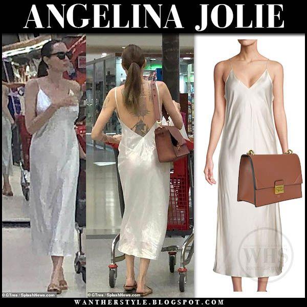 Angelina Jolie in white satin slip dress #angelinajolie #fashion ...