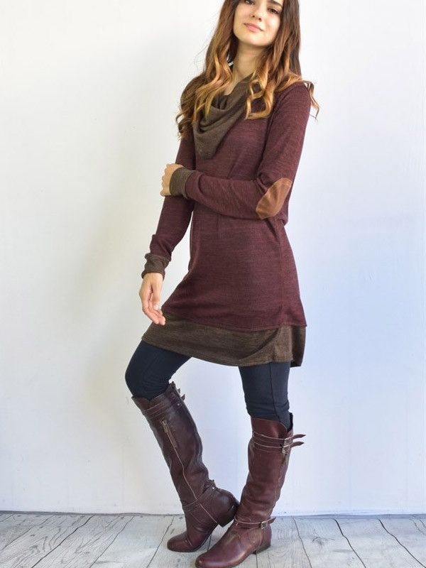 Country Style Cowl Neck Loose Dress - WealFeel