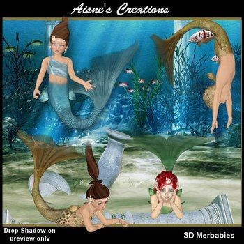 Need a few mermaids for your ocean themes - here is a set of 4 3D Merbabies.TOU1. You may not sell, distribute, trade or share my graphics in any way.2. You may use the graphics in your classroom and in various teaching mediums including worksheets, displays, projects etc.3. $1.00
