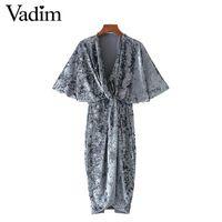 Женщины винтаж крест v шеи velvet dress твердые тонкий длиной до колен с коротким рукавом упругие вскользь уменьшают платья Vestido feminina QZ2893