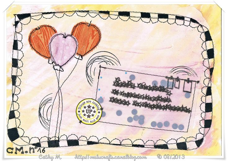 Mail Art Free motion stitching