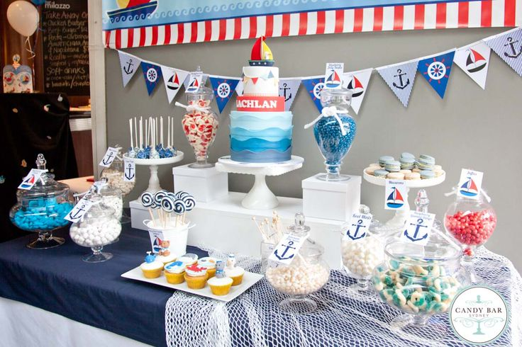 nautical theme candy buffet by candy bar sydney candy. Black Bedroom Furniture Sets. Home Design Ideas