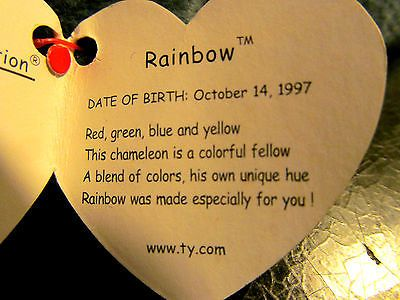 """TY BEANIE BABY """"RAINBOW"""" RETIRED WITH SWING TAG ERRORS PVC PELLETS REDUCED $$$"""