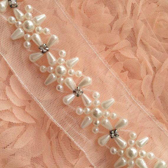 Ajuste Rhinestone perla marfil encaje moldeado Trim 1 yarda para el traje de novia vestido cinturón faja Brial joyería diseño