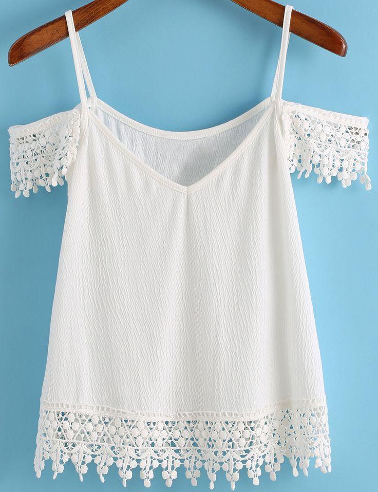 Spaghetti Strap Floral Crochet White Cami Top 11.83