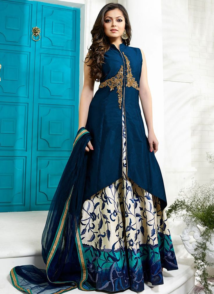 Buy Drashti Dhami Navy Blue Long Choli A Line Lehenga online from the wide collection of a-line-lehenga.  This Blue colored a-line-lehenga in Art Silk fabric goes well with any occasion. Shop online Designer a-line-lehenga from cbazaar at the lowest price.