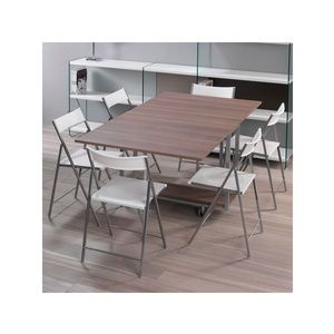 Tavolo chiudibile con portasedie laminato con ruote cornice Laminata 172x92x73h Archimede