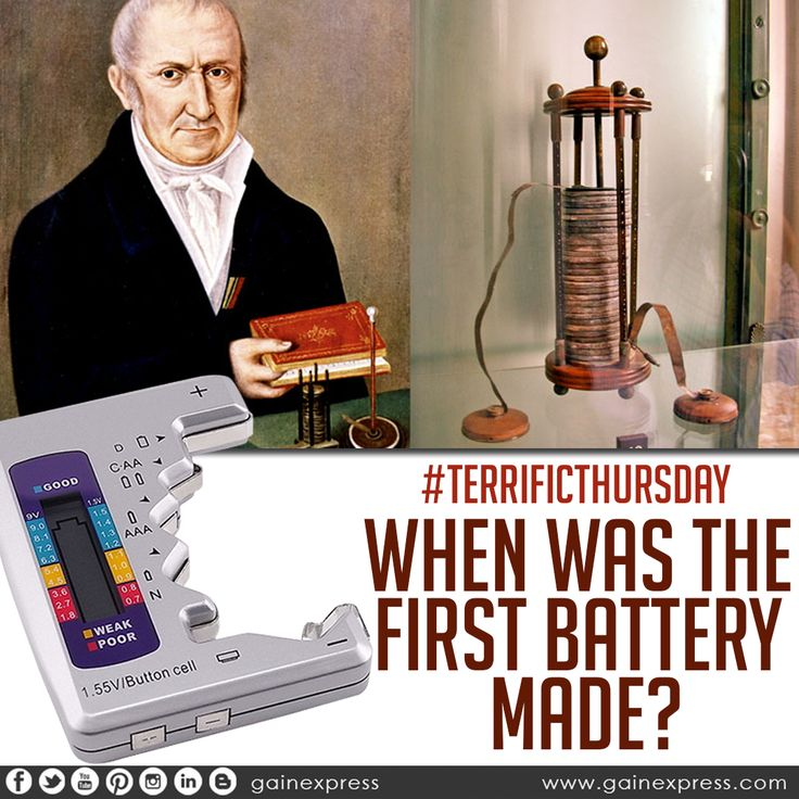 #battery #made #in #1800 #volta #invented #true #which #came #to #be #known #as #voltaic #pile #consisted #of #pairs #copper #and #zinc #discs piled on top of each other.  Test you battery here at http://bit.ly/2gL9Q73   #gainexpress #C,#AA #AAA #D #N #9V (6F22) and #155Vbutton #batteries