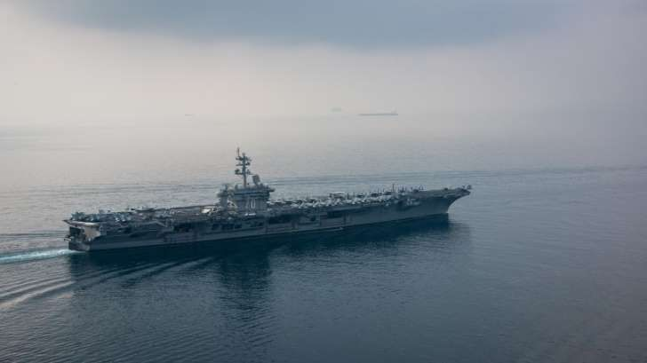 North Korea says it's ready to sink a US Navy Aircraft Carrier. (The aircraft carrier USS Carl Vinson (CVN 70) transits the Sunda Strait)