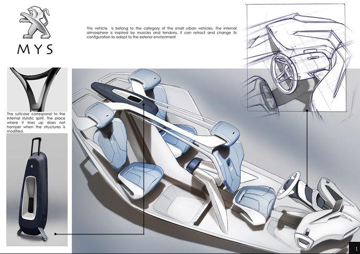 Peugeot Mys On Behance Interior Sketches Pinterest