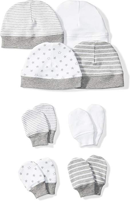 2cab44a9eed Amazon.com  Moon and Back Baby Set of 4 Organic Cap and Mitten Sets ...