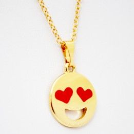 Gold Happy Emoticon Necklace by Amoura (Also available in Silver) #emoticon #necklace #happy