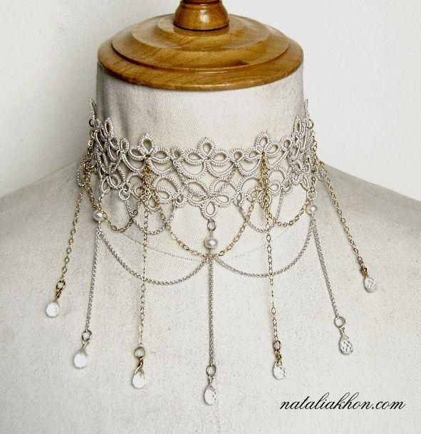 Gorgeous tatted necklace - handmade jewelry, jewellery, fiber jewelry