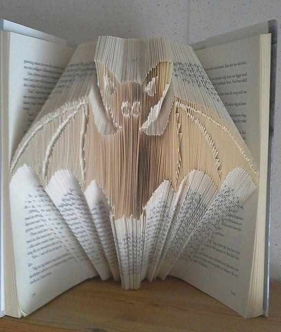 Bookfolding pattern Cute bat by Tinasbookfold on Etsy