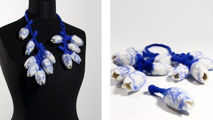Charlotte Molenaar- Tulip mania #4 delft blue (necklace), 2015 felted wool, total length 31""