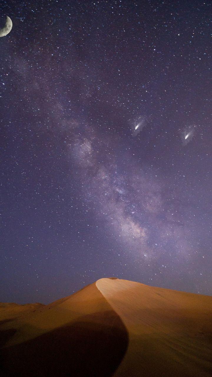 Milky Way Desert Night Sky 720x1280 Wallpaper 画像あり