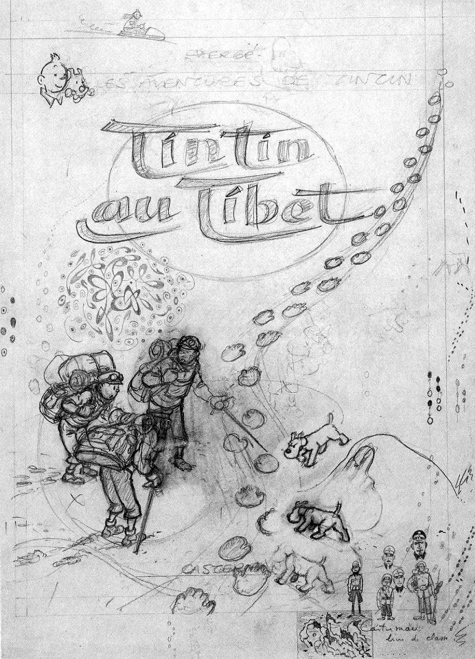 Hergé ~ Tintin in Tibet • original cover drawing • One if my favorite Tintin stories.