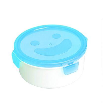 Smlie лица 1L коробка для завтрака пищевых пп округлые сохранение коробка кухонный инвентарь bento box экскурсия котелок бесплатная доставка F-50