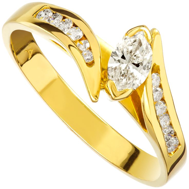 18ct Gold Marquise Shape Diamond Engagement Ring - $2243 Purejewels.com.au #diamonds #diamondrings #rings #jewellery #engagementrings
