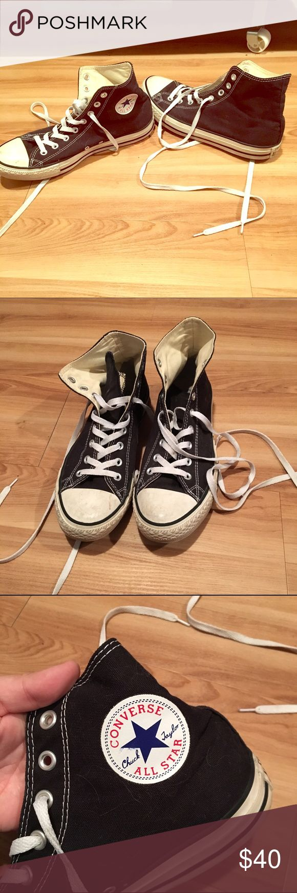 Men's Black High Top Converse Men's Black High Top Converse, barely worn, in good condition, a few scuffs on toe just from normal use. 👍 Converse Shoes Sneakers