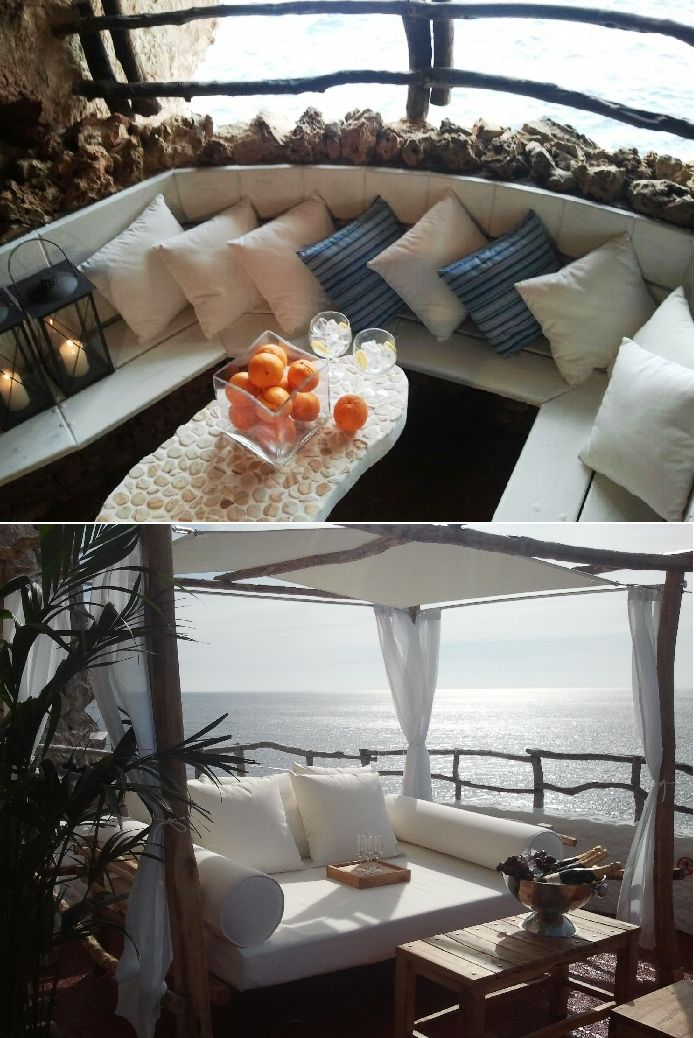 Cova d'en xoroi |  salotti o incantevoli baldacchini bianche per arredare questa bellissima terrazze con vista mare!