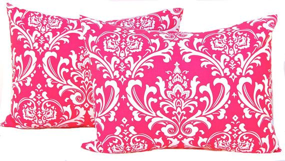 Pillow Shams Standard Decorative Pillow Covers Full Queen Bedding 19 x 25 Hot Pink and White Damask