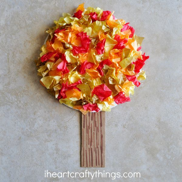 Tissue Paper Fall Tree Craft | I Heart Crafty Things