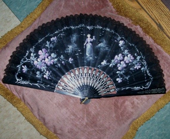 Victorian Organdy Hand Painted Fan w Peasant Woman and Violets Fabulous antique fan, late 1800s, Victorian era