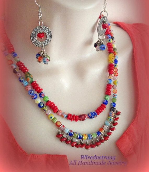 Millefiori and Red Coral Necklace and Earrings set by WirednStrung