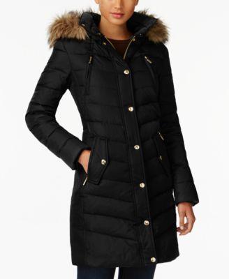 MICHAEL Michael Kors Faux-Fur-Trim Down Coat, A Macy's Exclusive   macys.com