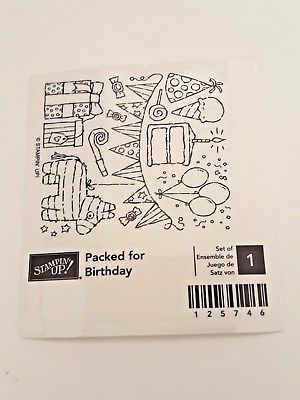 Stampin-Up-Packed-for-Birthday-Rubber-Mounted-Wood-Retired-New-Pinata-Pennant