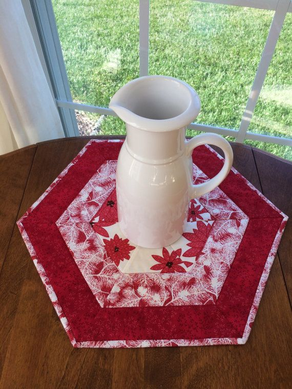 Red Amp White Quilted Hexagon Table Runner Or Candle Mat