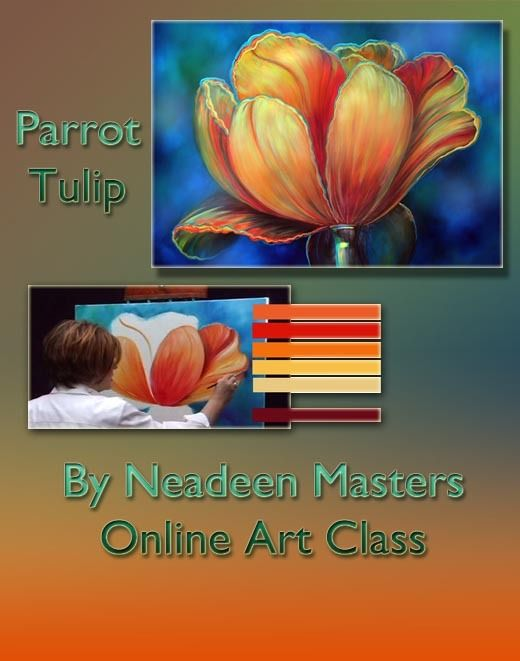 Online Art Class - Parrot Tulip Flower - Acrylic with ...