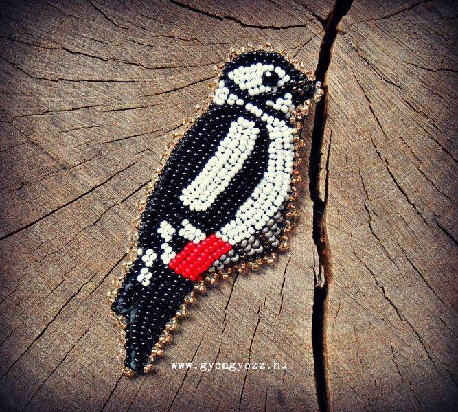 bead embroidery brooch bird