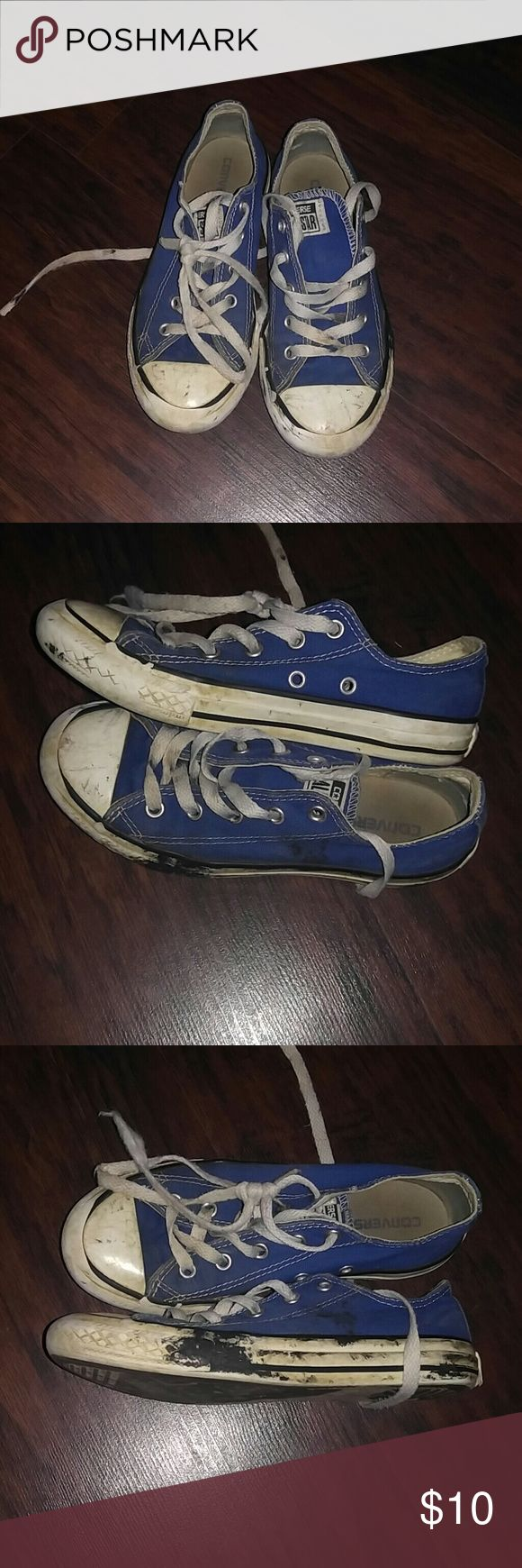 🌟Bogo🌟Blue converse Have lots of life left....need to be wash.I have no idea what the black stuff is but I was scrapping off with fingernail and it was coming off,so pretty sure it will come off with a good scrub. Converse Shoes Sneakers