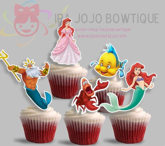 Cupcake Toppers Ariel The Little Mermaid, Printables for Ariel Party