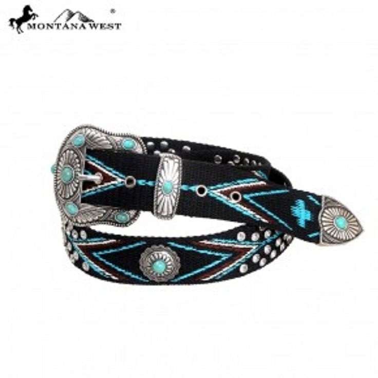 Montana West Western Colorful Aztec Hand Beaded Woven Belt, Turquoise, Silver