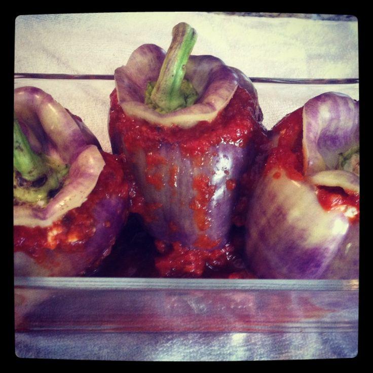 Stuffed purple peppers