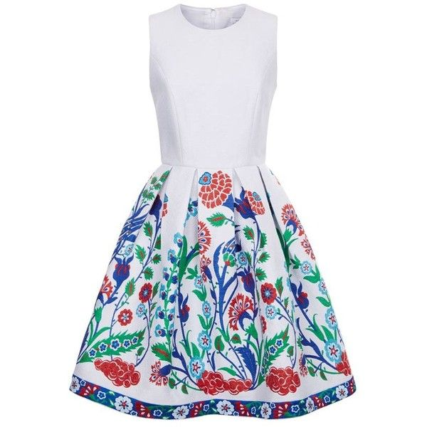 Andrew Gn Floral Embroidered Skater Dress ($2,195) ❤ liked on Polyvore featuring dresses, flower pattern dress, going out dresses, floral jacquard dress, night out dresses and floral party dresses