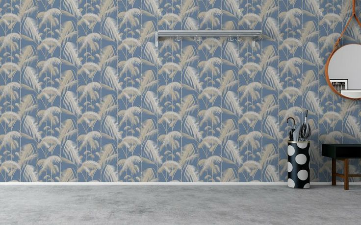 Cole and Son wallpaper Contemporary restyled collection 'Palm Jungle' Creme/Gold palms, blue background