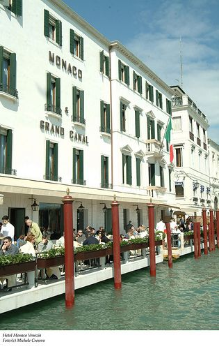Breakfast on the terrace of the Hotel Monaco Grand Canal in Venice, Italy