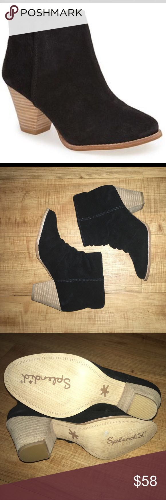 """Splendid suede ankle boots A versatile stacked-heel bootie shaped from smooth suede features a subtly distressed finish for a dash of authentic appeal. 2 1/4"""" heel. 6"""" boot shaft. Back zip closure. Suede or leather upper/synthetic lining and sole. By Splendid; imported. Splendid Shoes Ankle Boots & Booties"""