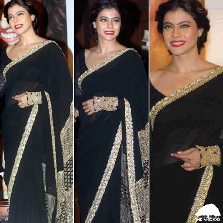 Black #saree & red #lipstick - Kajol is our #Saree #Saturday inspiration today!