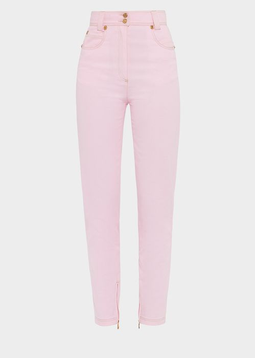 Versace Very Versace High-waist Jeans  for Women | US Online Store. Very Versace High-waist Jeans  from Versace Women's Collection. These Very Versace pastel jeans feature gold Medusa buttons and high waist.