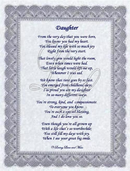 daughter birthday poems | Daughter poem is about a special daughter. Poem may be personalized ...