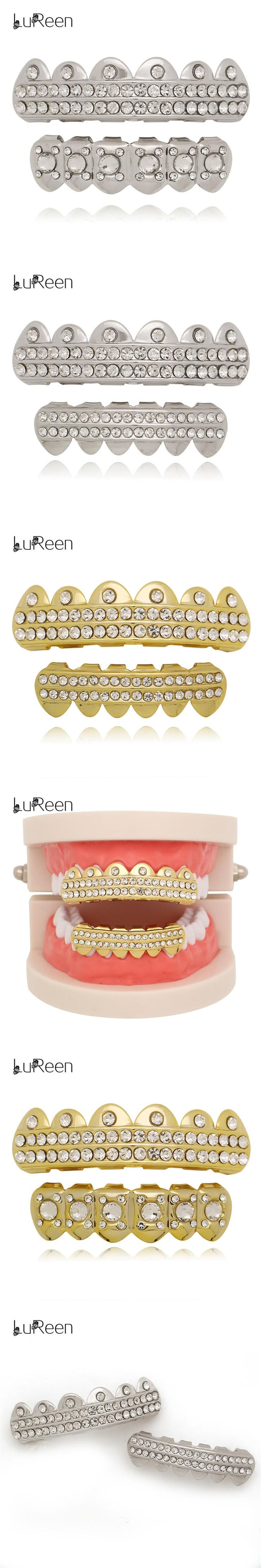 LuReen New Rhinestone Gold Teeth Grills Top&Bottom Hiphop Grills Dental Caps Mouth Halloween Tooth Grills Party Jewelry LD0062