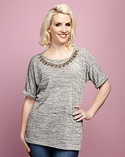 Claire Richards Slouchy Tee With Detachable Statement Necklace