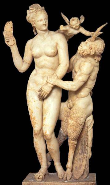 Aphrodite, Pan, and Eros, dedicated by Dionysios of Berytos in teh Clubhouse of the Poseidoniasts on Delos (c.100 BC), marble, Athens, National Museum