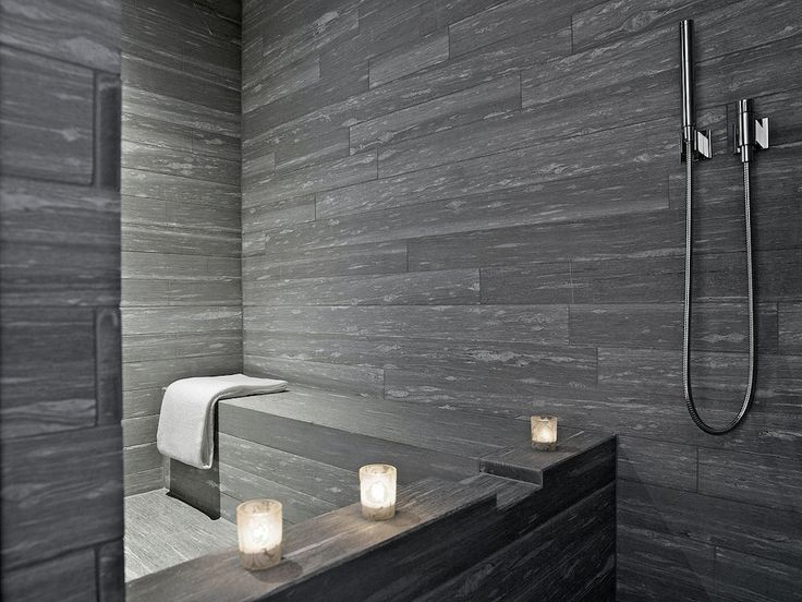 Minimalist grey bathroom in Therme Vals