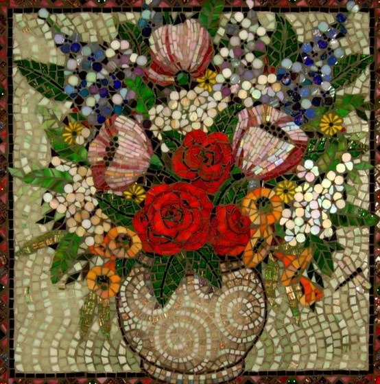Red Flowers in Beige Base.       mosaic